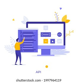 Programmer or coder looking at computer display and program window with code. Concept of API or application programming interface for software connection. Modern flat vector illustration for banner.