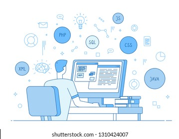 Programmer coding website. Coder web designer works on javascript, php code programming language. Software development vector concept