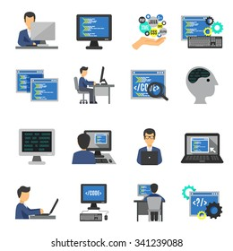 Programmer and computer programs development icons flat set isolated vector illustration