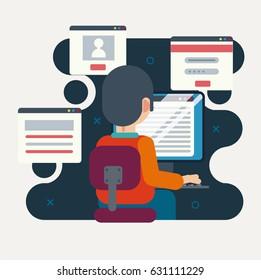 Programmer or designer working on computer. Software development concept. Flat design concept.