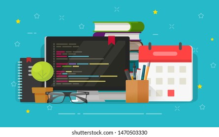 Programmer desktop with computer screen and code vector illustration, flat cartoon programming on pc or coding workplace, idea of software or web development study, freelance or office working table