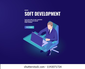 Programmer development a software, programming isometric, business analytics and data processing, hr manager recruiting