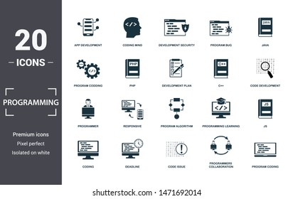 Programmer icon set. Contain filled flat coding, php, programming learning, app development, js, program algorithm, program bug icons. Editable format.