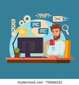 Programmer Man Vector. Classic Professional Programmer Man Coding. Software Programmer Typing Code. Flat Cartoon Illustration