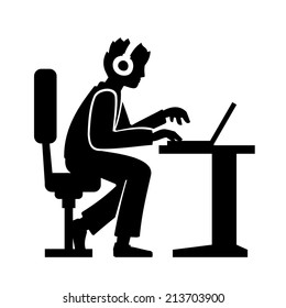 Programmer Silhouette Working on His Computer. Vector illustration