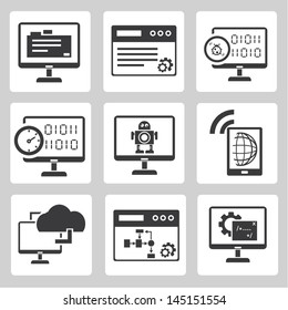 programmer, software development and internet application icons set