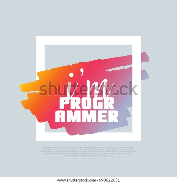 Im Programmer Vector Clipart Template Poster Stock Vector