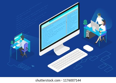 Programmer or web developer concept. Working on computer, coding and programming software. Isometric vector illustration
