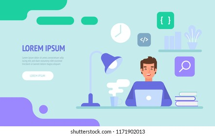 Programmer or web engineer at work. Programmer programming web site landing page template. Flat vector illustration can use for web banner, infographics, hero images.