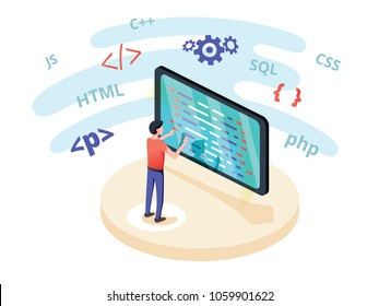 Programmer at work concept banner. Can use for web banner, infographics hero images. Flat isometric vector illustration isolated on white background. Programming languages education. Computer coding