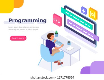 Programmer at work. Concept for infographics, web banner. Flat isometric vector illustration.