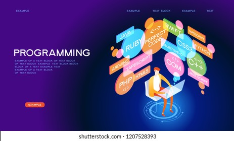 Programmer workflow. The programmer is in the process of coding. Programming concept.  3D vector isometric illustration.