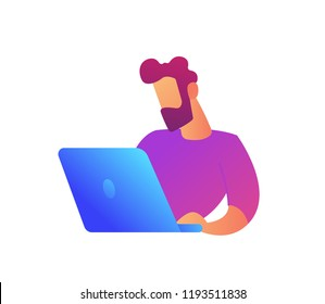 Programmer working at laptop screen vector illustration. Business analysis and marketing strategy, freelance and IT specialist, SEO manager and digital marketing concept. Isolated on white background.