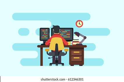 programmer working on multi display computer sitting on chair, workspace flat illustration
