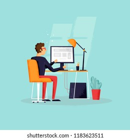 Programmer works at the computer. Flat design vector illustration. Texture