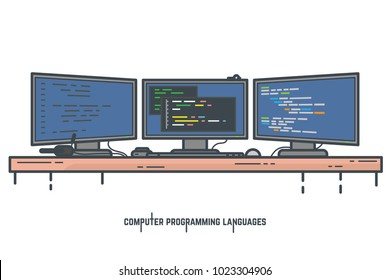 Programmer workspace vector illustration. Programming and coding desktop setup with three monitors. Window with app creator tool. Developer modern working space. Web banner for learning coding.