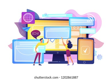 Programmers with browser windows and pc and tablet. Cross-browser compatibility, cross-browser and browser compatible concept on white background. Bright vibrant violet vector isolated illustration