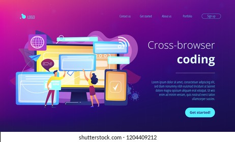 Programmers with browser windows and pc and tablet. Cross-browser compatibility, cross-browser and browser compatible concept on white background. Website vibrant violet landing web page template.