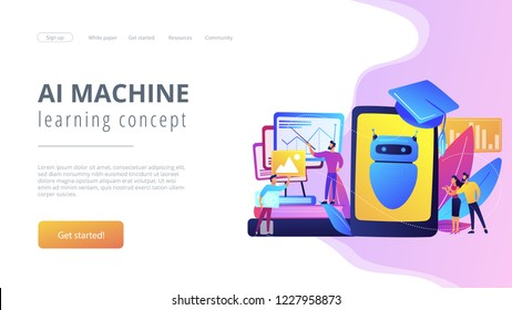 Programmers with charts make chatbot learn data from past results. Chatbot self learning, virtual assistants learning, AI machine learning concept. Website vibrant violet landing web page template.