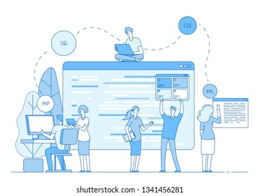 Programmers coding website. Coders write source code on screen on window. Php css engineer designer support line vector concept