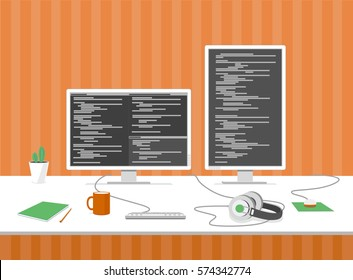 Programmer's, computer engineer's workplace. Table with monitors, keyboard, headphones, mouse, cactus, pictures on the wall, mug and notebook. White and orange. Coding, programming. Vector clip-art.
