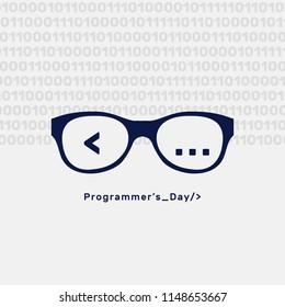 Programmer's Day, binary code, glasses, flat silhouette, vector illustration, happy