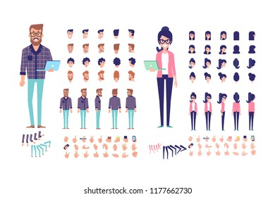 Programmers. Front, side, back, 3/4 view animated characters. Male and female creation set with various views, hairstyles and gestures. Cartoon style, flat vector illustration.