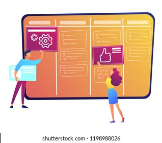 Programmers putting cards on kanban board vector illustration.