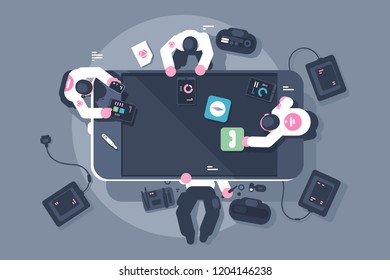 Programmers team mobile app interface development. Men engineering smartphone screen application design. Flat style. Horizontal. Top angle view. Vector illustration