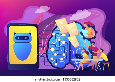 Programmers testing chatbot intelligence and brain with circuit. Chatbot Turing test, intelligent behavior, human-like response concept. Bright vibrant violet vector isolated illustration