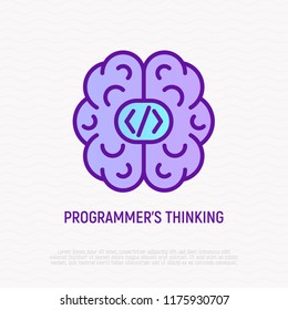 Programmer's thinking: brain with code. Thin line icon. Modern vector illustration.