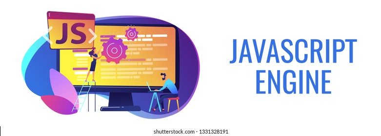 Programmers using JavaScript programming language on computer, tiny people. JavaScript language, JavaScript engine, JS web development concept. Header or footer banner template with copy space.