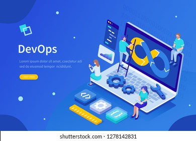 Programmers at work concept. Can use for web banner, infographics, hero images. Flat isometric vector illustration isolated on white background.