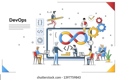 Programmers at work concept. Can use for web banner, infographics, hero images. DevOps. Flat vector illustration isolated on white background. People team work together