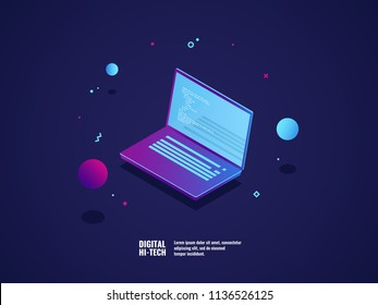 Programming of application and software development concept, laptop with program code on screen, vector illustration isometric neon dark ultraviolet