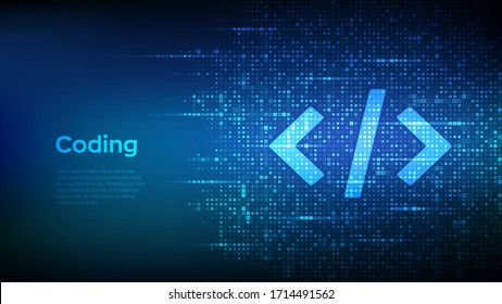 Programming code. Coding or Hacker background. Programming code icon made with binary code. Digital binary data and streaming digital code. Matrix background with digits 1.0. Vector Illustration.