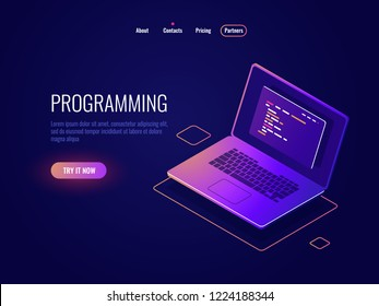 Programming and code writing isometric icon, software development, laptop with text of program code on screen, data processing dark neon vector