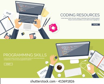 Programming and coding background.Flat design.Program source code.Software coding,testing,debugging.Mobile apps programming.SEO.Search engine. Programming languages for code learning.Coding tutorials