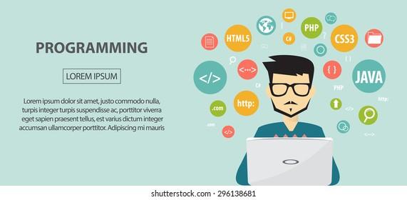 programming coding, programming banner, flat design concept