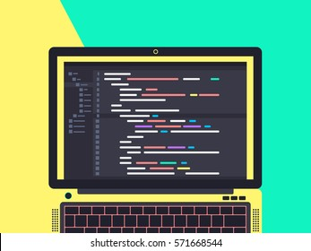 Programming and coding concept. Code on the screen laptop. Flat vector illustration.