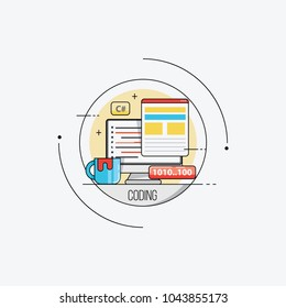 Programming and coding concept. Flat vector illustration.