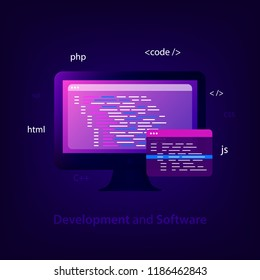 Programming and coding concept. Program source code. Software development, testing, debugging. Search engine. Programming languages for code learning. Trendy style. Vector illustration
