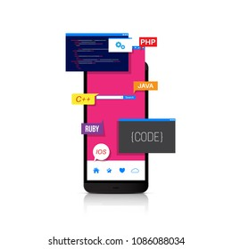 Programming and coding mobile applications, web design. Detailed vector illustration