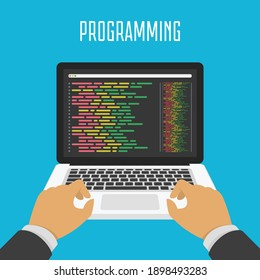 Programming and coding on laptop screen. Simple notebook computer with code vector design. Flat design for web banners, web sites or printed materials.
