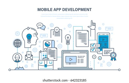 Programming and coding online,web courses, internet and web design, mobile and desktop app development process. Illustration thin line design of vector doodles, infographics elements.
