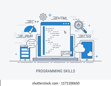 Programming and coding skills. Development and debugging. Flat modern line-art vector illustration.