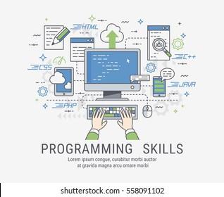 Programming and coding skills. Web site development and debugging. Line-art vector illistration.