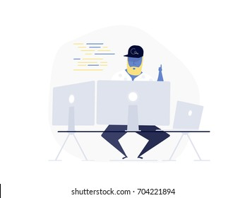 Programming, coding, soft development concept - programmer working writing code at his big desk with multiple displays and laptop computer. Design UI / UX Cartoon Elements For Web Construction.