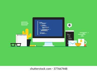 Programming and coding, Website development, Web design.Flat design modern vector illustration concept.