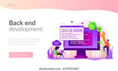 Programming and coding, website, webpage optimization. Back end development, software development process, backend app developer concept. Website homepage header landing web page template.